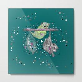 Green possum trio on a branch - Teal Metal Print