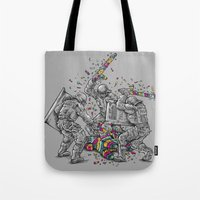 police Tote Bags featuring Police Brutality by Peter Kramar