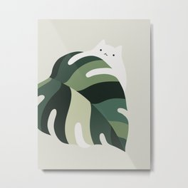Cat and Plant 12B Metal Print