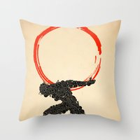 atlas Throw Pillows featuring Atlas by Dave Razor Compton Wolff