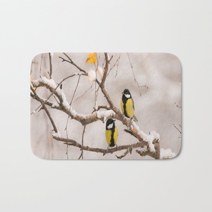 Lovely Songbirds on a Snowy Branch #decor #buyart #society6 Bath Mat