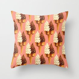 Ice Cream Pattern - Pink Throw Pillow