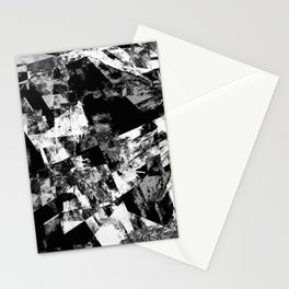 Fractured Black And White - Abstract, textured, black and white artwork Stationery Cards