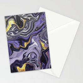 Melted Marble in Purple and Gold Stationery Cards