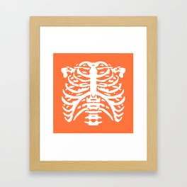 Human Rib Cage Pattern Orange 2 Framed Art Print