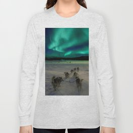 Winter Northern Lights Dog Sled (Color) Long Sleeve T-shirt