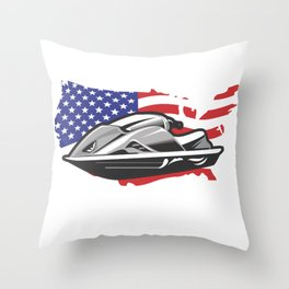 American Flag Jet Ski USA America Jetski water Throw Pillow