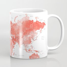 Living coral watercolor world map with cities Coffee Mug