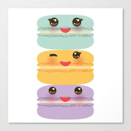 Kawaii macaroon funny orange blue lilac cookie with pink cheeks with pink cheeks and big eyes Canvas Print