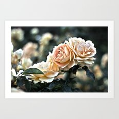 Flower Art - Sunset Floral Print - Coral Pink, Peach, Yellow - Shabby Chic Art -