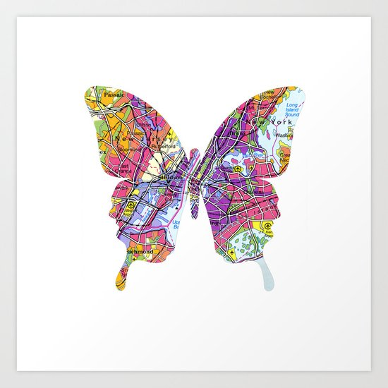 papillon - new york - white Art Print