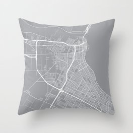 Corpus Christi Map, Texas USA - Pewter Throw Pillow