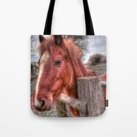 pony Tote Bags featuring Pony  by Darren Wilkes Fine Art Images