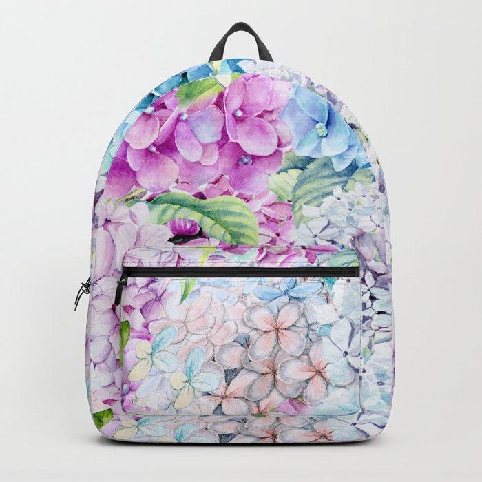 Multicolor Watercolor Hydrangea dream pattern Backpack