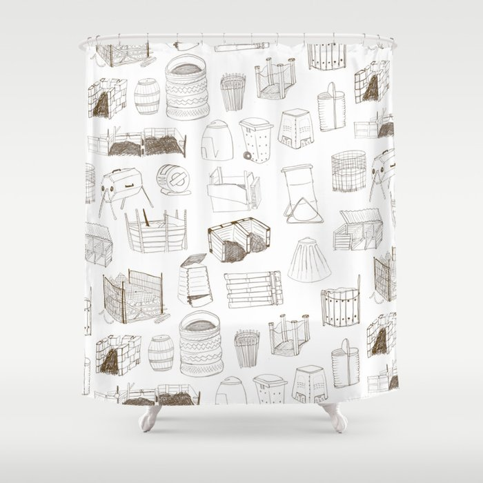 Cover, Contain, COMPOST- 1 of 3 Shower Curtain