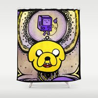 jake Shower Curtains featuring Jake Mandala by Spectronium - Art by Pat McWain