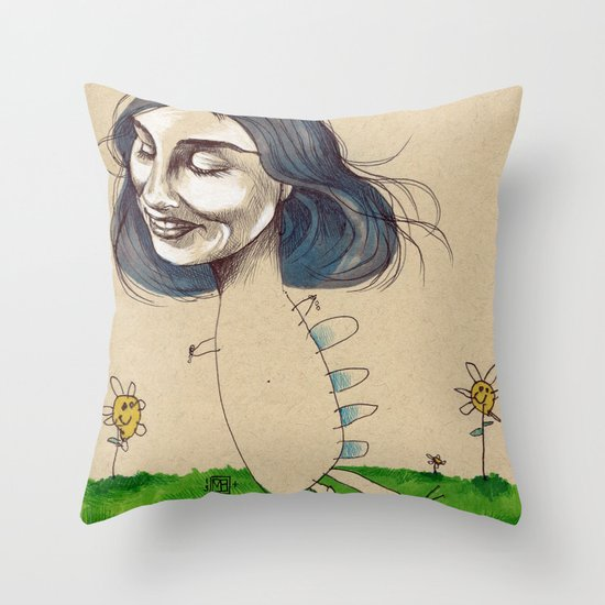 DINOSAUR GIRL Throw Pillow