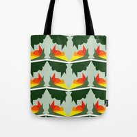 ships Tote Bags featuring Burning Ships by Mimi