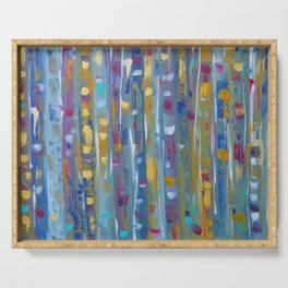 Forest Through The Trees, Abstract Aspen Tree Art Serving Tray