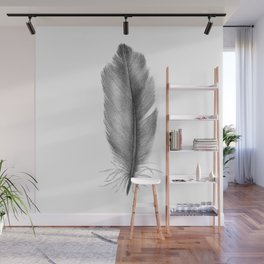 Feather Blue Jay Grey Watercolour Painting Wall Mural