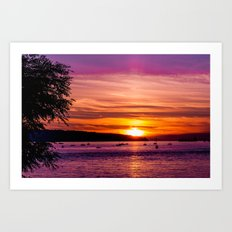 Sunset Over the Beach  Art Print
