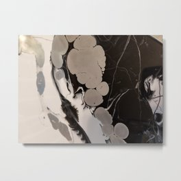 Black and silver marble Metal Print