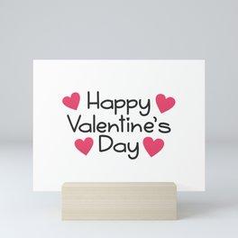 Simple Happy Valentine's Day Handwritten Greeting Mini Art Print