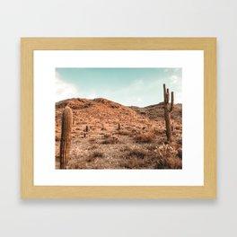 Saguaro Mountain // Vintage Desert Landscape Cactus Photography Teal Blue Sky Southwestern Style Framed Art Print