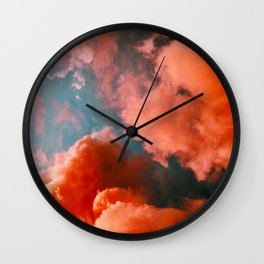 Beautiful Magical Pink Orange Salmon Hue Fluffy Clouds Against A Turquoise Sky Cotton Candy Texture Wall Clock