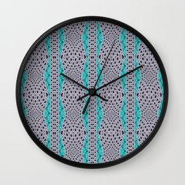 Trending Turquoise and Grey Black Stripe Pattern Design Wall Clock