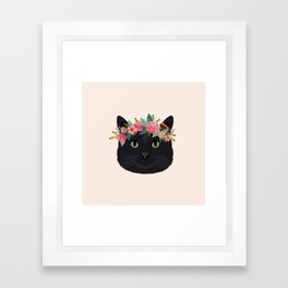 Black cat breed floral crown black cats lover pure breed gifts Framed Art Print