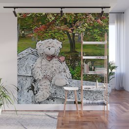 Teddy by the pond in autumn Wall Mural