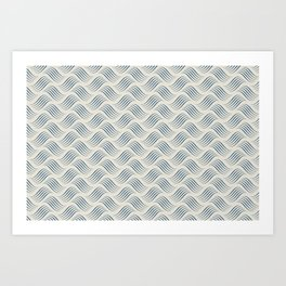 Blue Wavy Tessellation Line Pattern on Linen Off White - 2020 Color of the Year Art Print