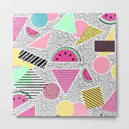 Modern geometric pattern Memphis patterns inspired Metal Print