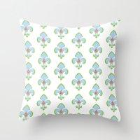 fleur de lis Throw Pillows featuring Fleur de Lis Blue by Drape Studio