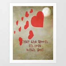 Over the Moon in Love Art Print