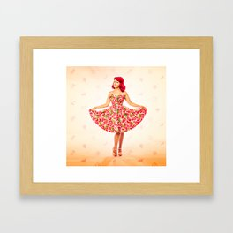 """""""Check Out These Melons"""" - The Playful Pinup - Girl in Watermelon Dress by Maxwell H. Johnson Framed Art Print"""