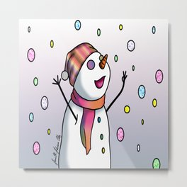 Happy Candy Snowman Metal Print
