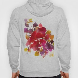 Abstract paintings, red botanical watercolor Hoody
