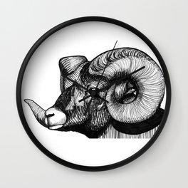Hand Drawn Black and White Bighorn Sheep Portrait Wall Clock