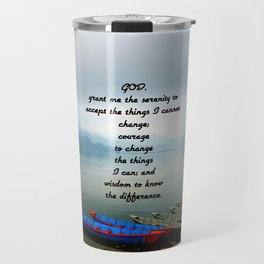 Serenity Prayer With Phewa Lake Panoramic View Travel Mug