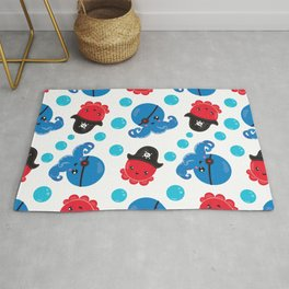 Pattern Of Pirate Octopuses, Sea Life - Red Blue Rug