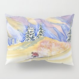 Powder Skiing Art Pillow Sham