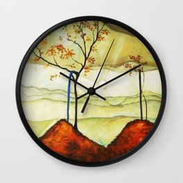 Autumn Sun & Foliage landscape painting by Egon Schiele Wall Clock