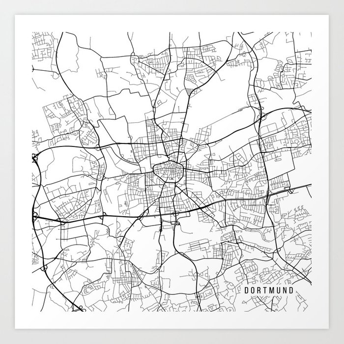 Dortmund On Map Of Germany.Dortmund Map Germany Black And White Art Print By Mainstreetmaps