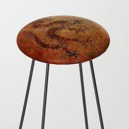Distressed Chinese Dragon In Octagon Frame Counter Stool