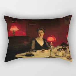 John Singer Sargent Le verre de porto A Dinner Table at Night Rectangular Pillow