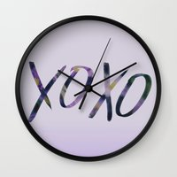 xoxo Wall Clocks featuring XOXO by Leah Flores