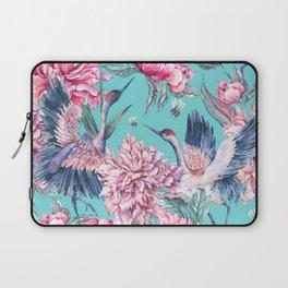 Watercolor crane and blooming peonies Laptop Sleeve