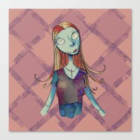nightmare before christmas Canvas Prints featuring Sally - Nightmare before christmas by KanaHyde